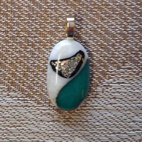 Fused glass white and turquoise pendant