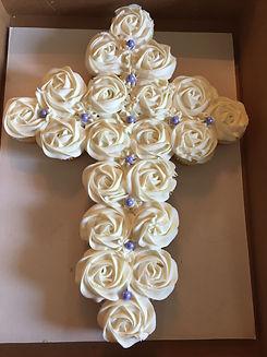 Cross-shaped cupcake cake.jpg