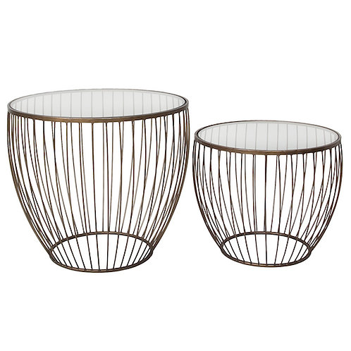 CYCLONE GLASS TABLE - SET OF TWO