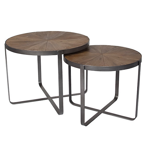 CYCLONE CROSS ACCENT TABLES - SET OF TWO