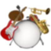 Jazz montage consisting of a drum kit, e