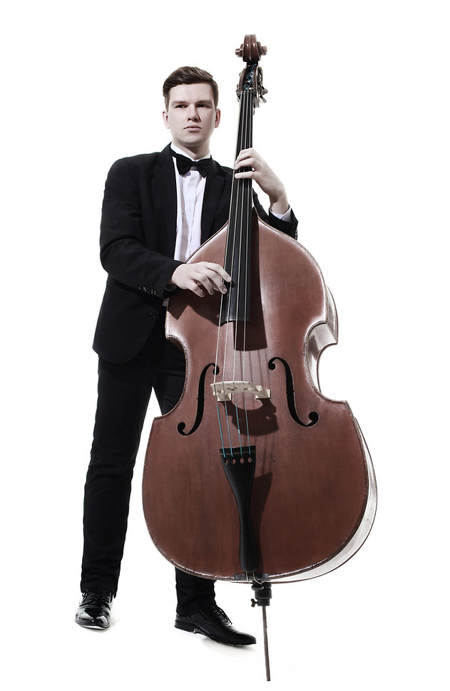 Double bass player contrabass playing. C