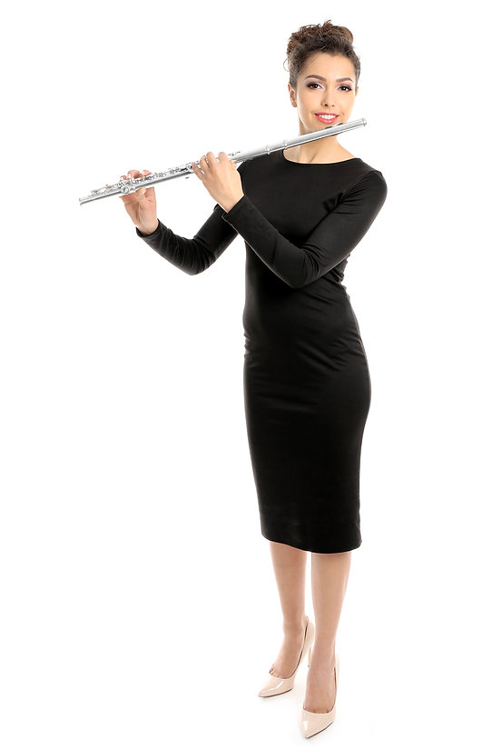 Beautiful young woman with flute isolate