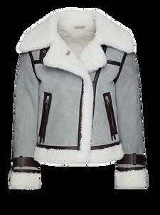 """Hellgraue """"Priya"""" Lederjacke von Allsaints aus 100 Prozent Lammleder mit Futter aus gefärbtem Lammfell. Preis ca. 1.385 Euro."""