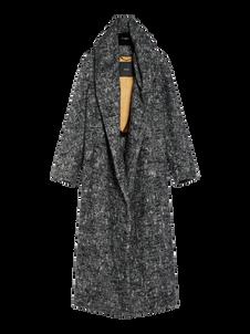 Langer Oversize-Mantel in melliertem Grau von Max Mara, ohne Knöpfe, aus Alpaka- und Wollstoff mit breitem Schalkragen und Kapuze. Preis ca. 2.935 Euro.