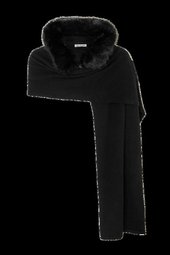 Schal aus schwarzem Kaschmir, von Johnstons of Elign, mit Fake-Fur-Besatz und Kapuze. Erhältlich über net-a-porter.com für ca. 363 Euro.