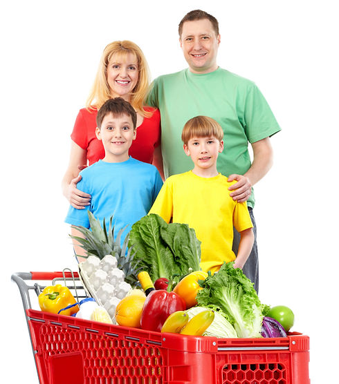 Happy family with a shopping cart. Isola