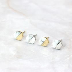 大理石紋六角耳釘