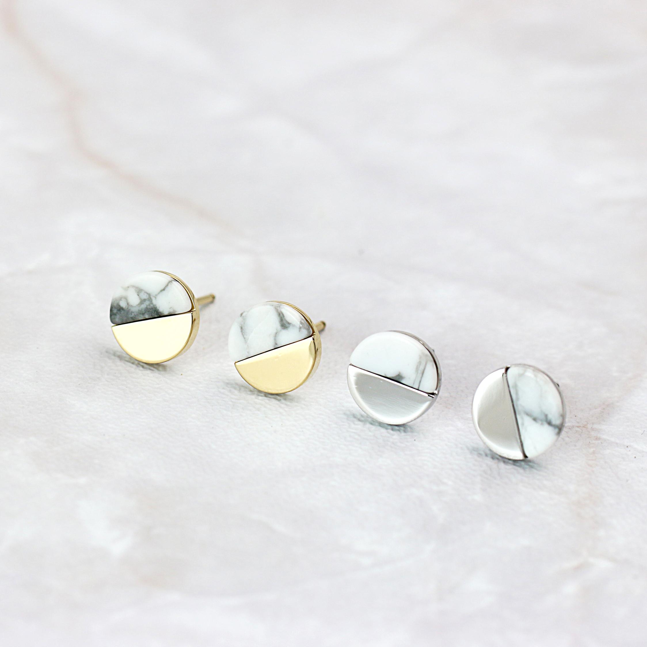 大理石紋圓圈圈耳釘