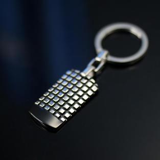 方格紋軍牌鑰匙圈 I 醫療鋼