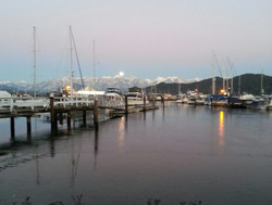 Gibsons Harbour with moon rising