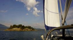 Sailing past Worlcombe Is