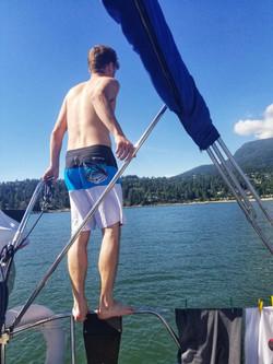 Steve jumping into English Bay