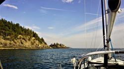 Sailing past Popham Island