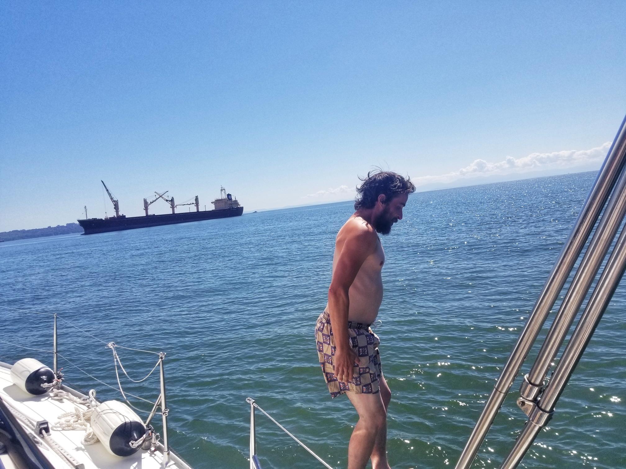 Peter jumping into English Bay