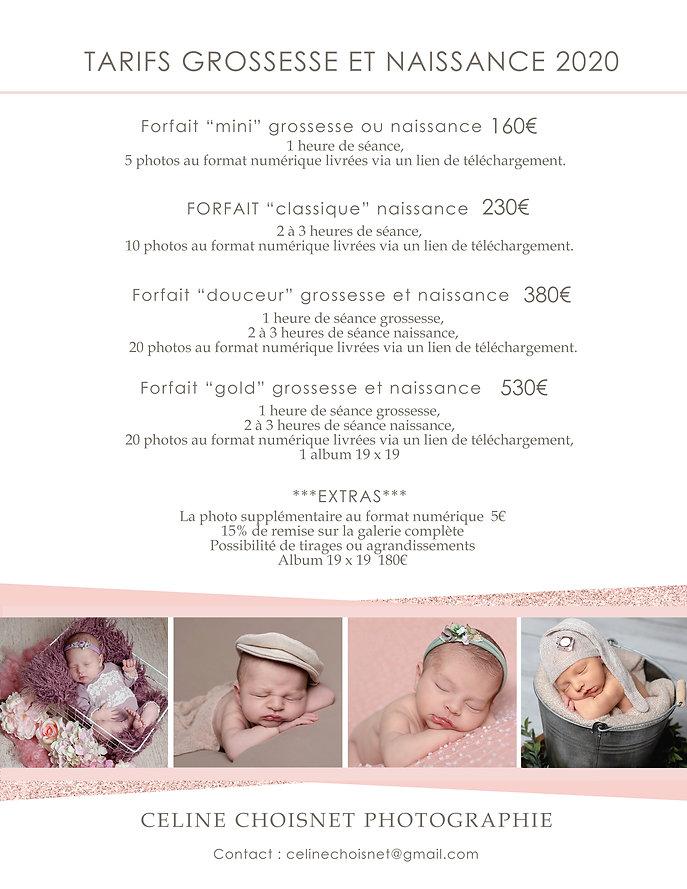 Plaquette tarifaire grossesse et naissan