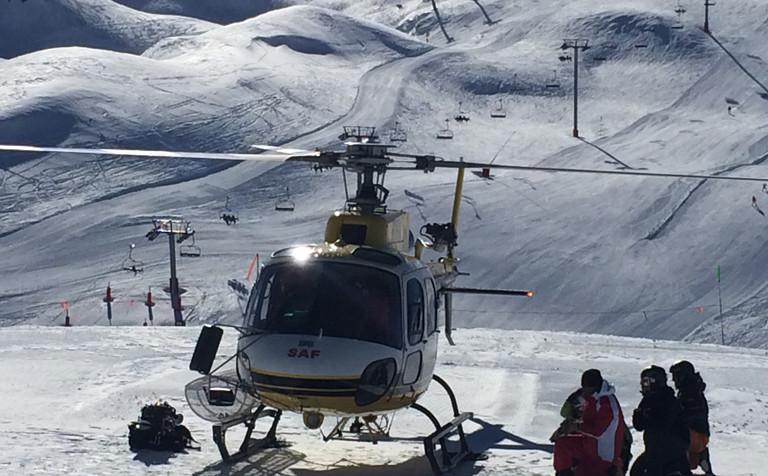 dépose ski hélico