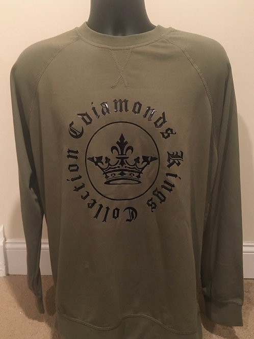 Kings Collection Men's Signature Military Green and Black Sweatshirt