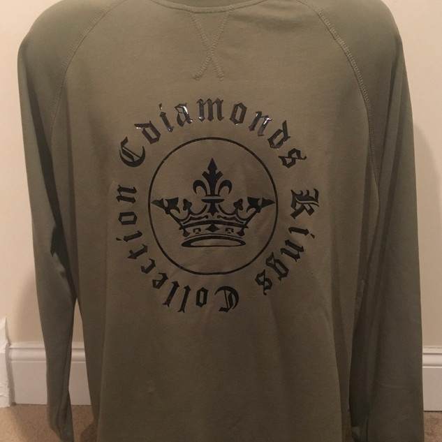 Kings Collection Mens Signature Military Green and Black Sweatshirt