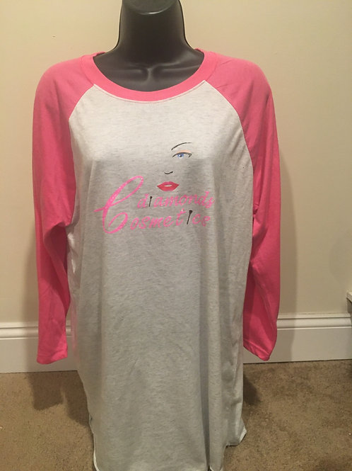 Cdiamonds Womens Pink and Grey Jersey Tee
