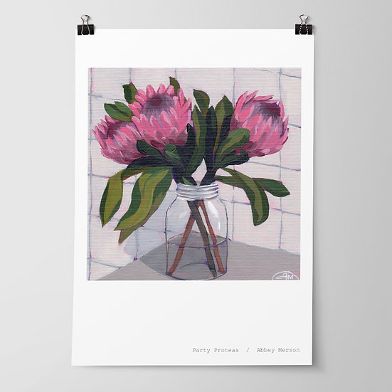 'Party Proteas' Print by Abbey Merson
