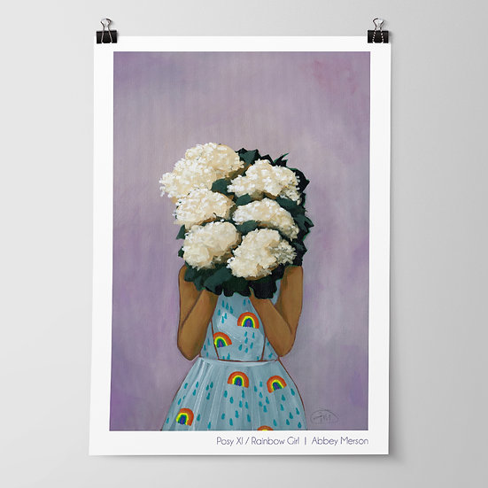 'Posy XI / Rainbow Girl' Print by Abbey Merson