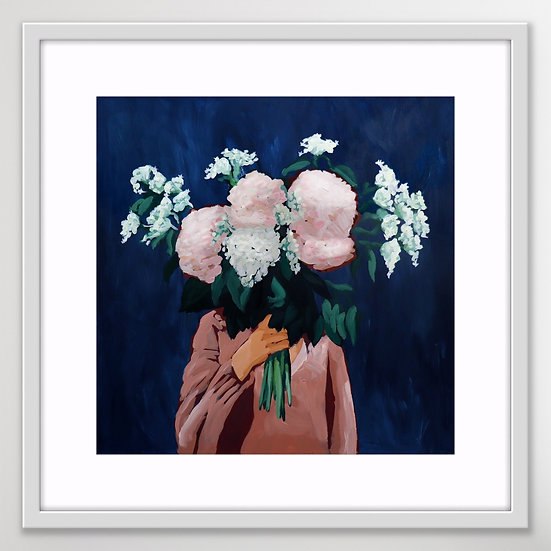 'Posy III / Midnight Blooms' XL Framed Print by Abbey Merson