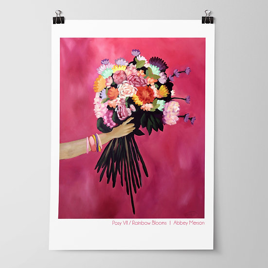 'Posy VII / Rainbow Blooms' Print by Abbey Merson