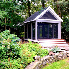 Modern Greek Temple Style Screened Porch