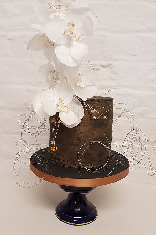 Metallic effect with rice paper orchids cake