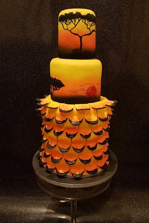 Sunrise/sunset themed wedding cake