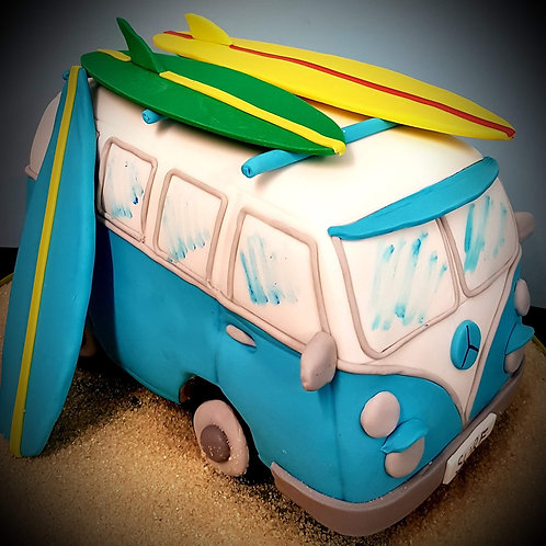 Summer fun surfing campervan cake