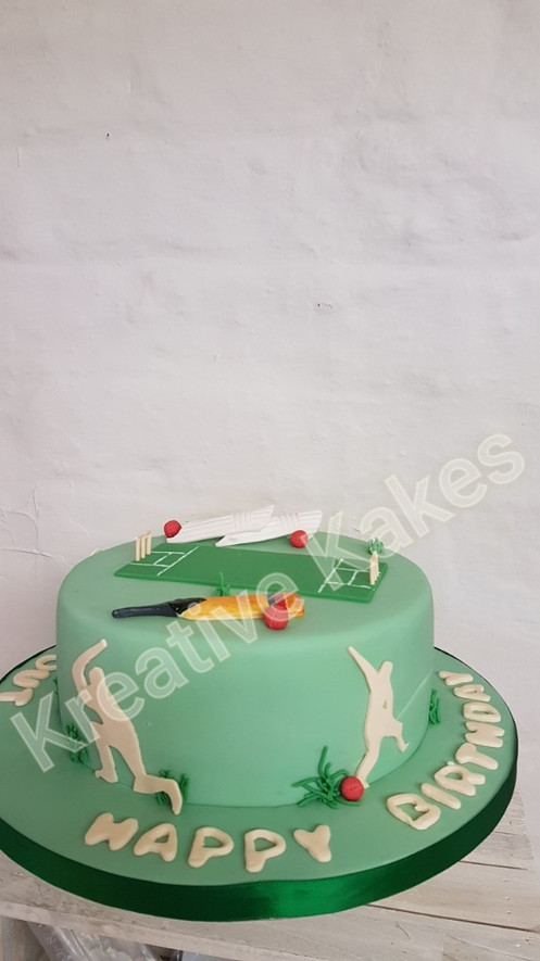 This Cricket Themed Cake Could Be Transformed To Any Sporting Event In The Same Style Of And Would Ideal For Sports Fan Or