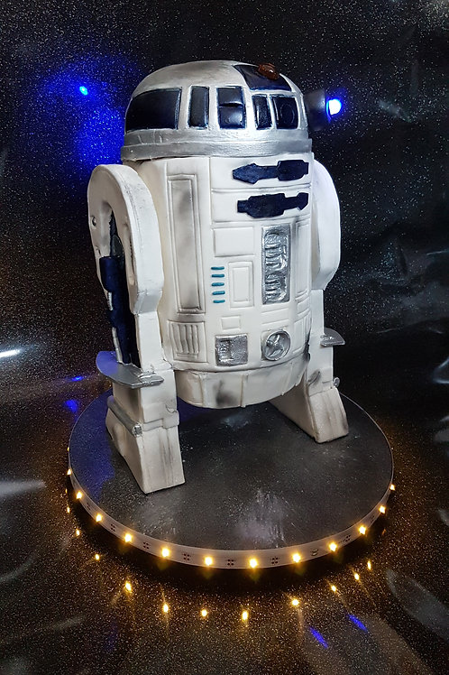 Sculpted sci fi themed droid cake