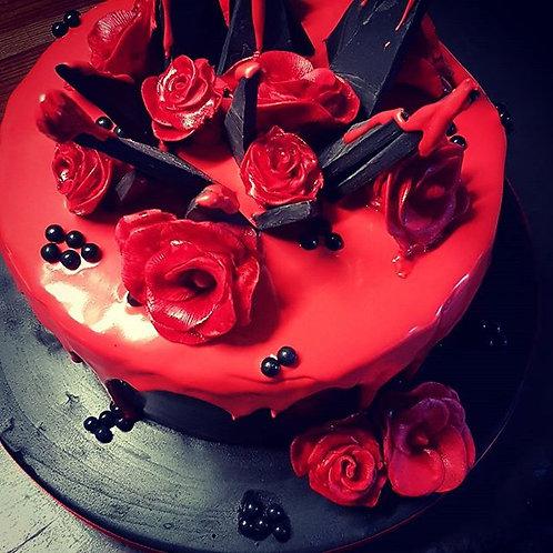 Gothic inspired chocolate explosion cake