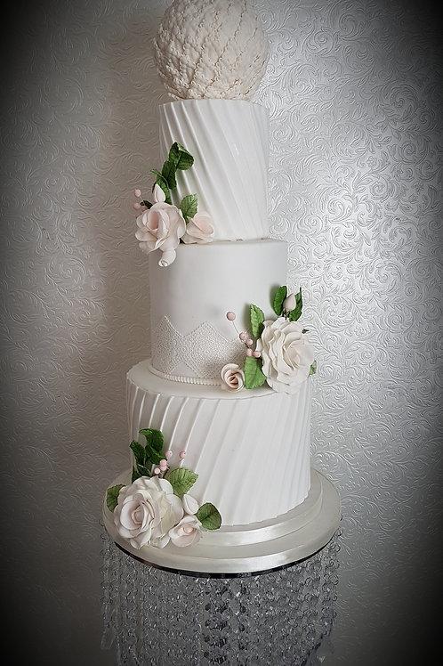 Vintage in White Wedding Cake