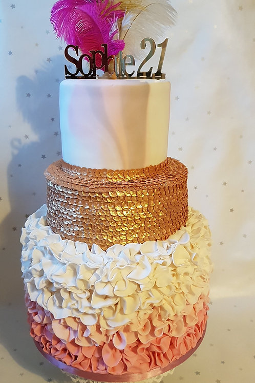 3 tier ruffles and sequins celebration cake