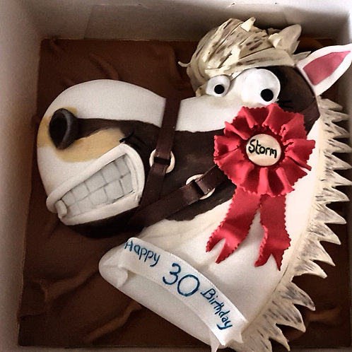 Horse's head character cake