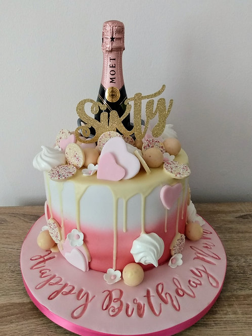Champagne drip cake