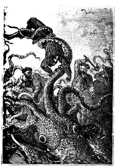 Le poulpe brandissaitela victime comme une plume - Vingt mille lieues sous les mers