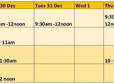 Week 2 Timetable for Festive FoodShare