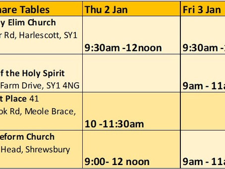 Last 2 days of Festive #foodshare Thurs 2nd and Fri 3rd Jan