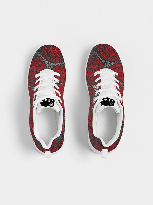 Live Forever Brand Red and Black Paisley Women's Athletic Shoe