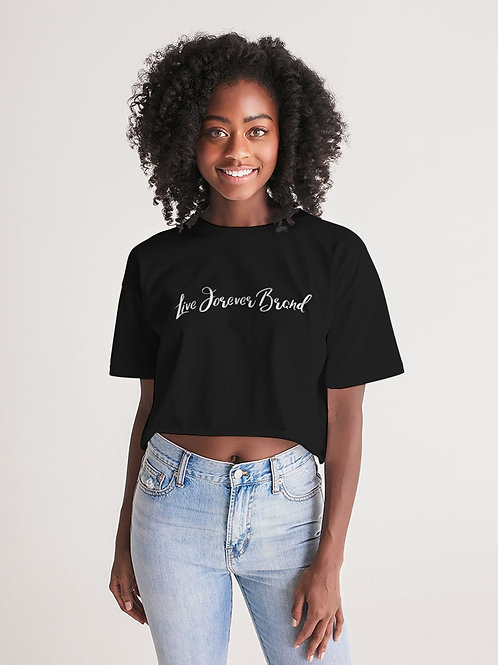 Live Forever Brand BlackOut Women's Lounge Cropped Tee
