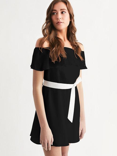 Live Forever Brand BlackOut Women's Off-Shoulder Dress