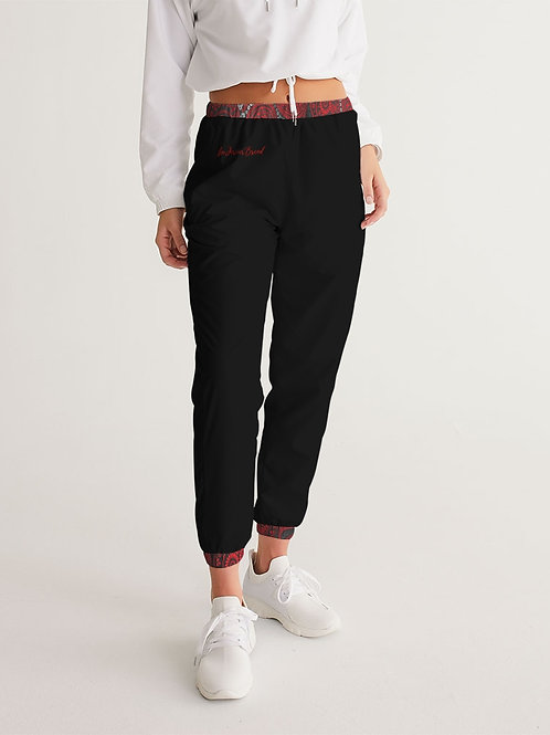 Live Forever Brand Red and Black Paisley Women's Track Pants