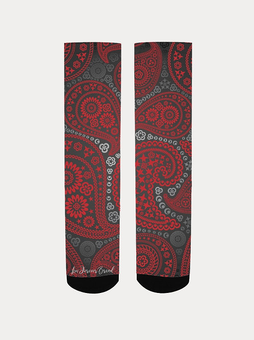 Live Forever Brand Red and Black Paisley Men's Socks