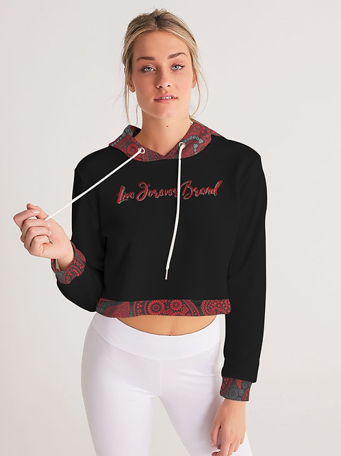 Live Forever Brand Red and Black Paisley Women's Cropped Hoodie