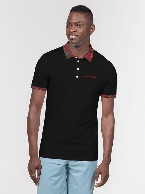 Live Forever Brand Red and Black Paisley Men's Slim Fit Short Sleeve Polo