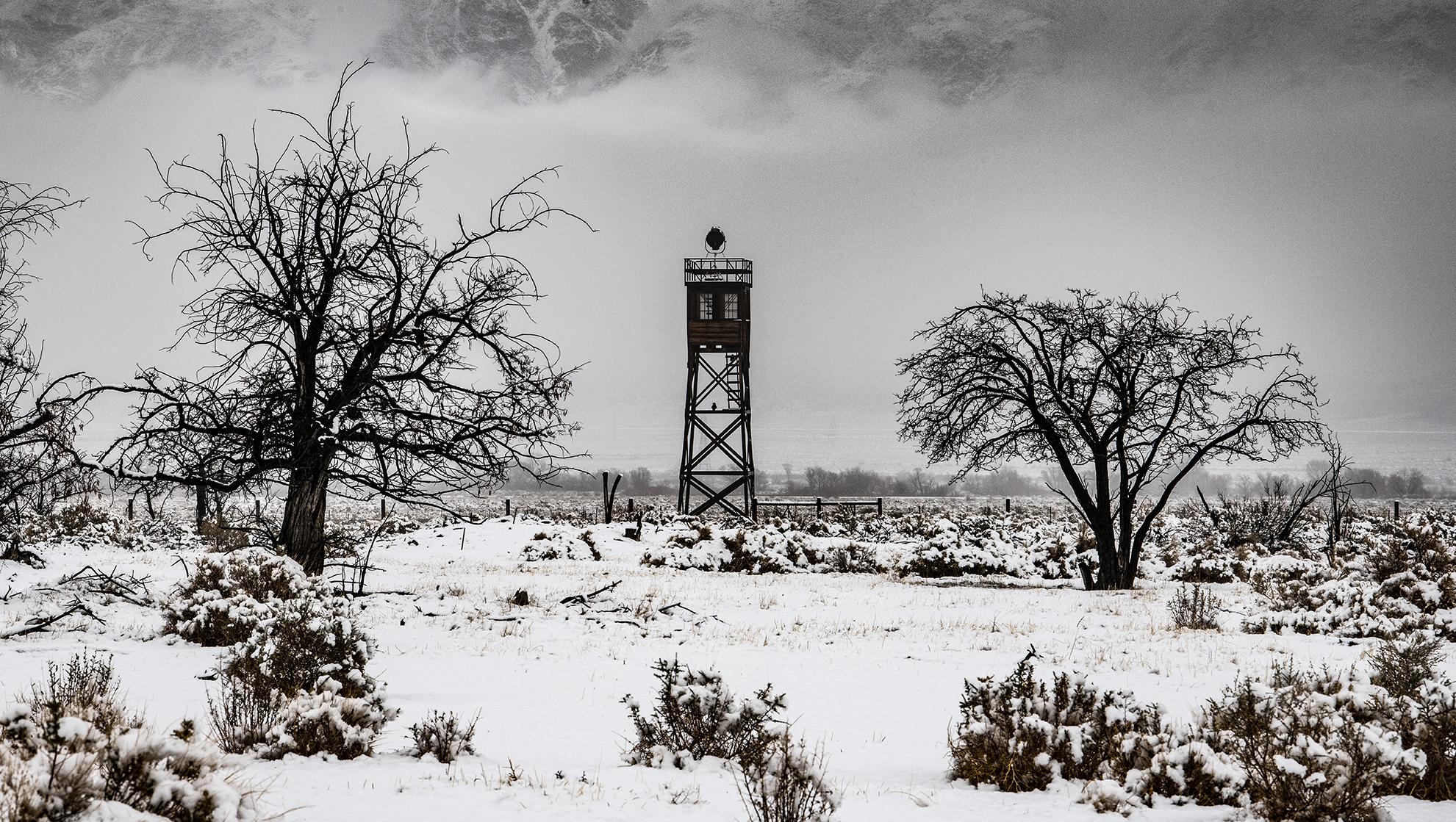 snowy watch tower Manzanar internment ca